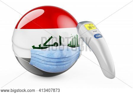 Iraqi Flag With Medical Mask And Infrared Electronic Thermometer. Pandemic In Iraq Concept, 3d Rende