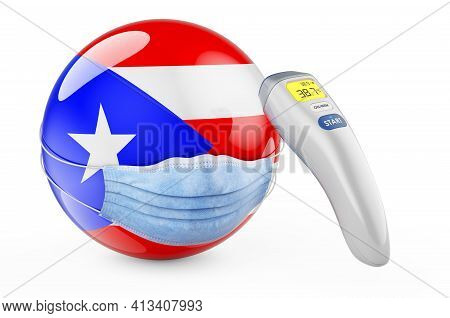 Puerto Rican Flag With Medical Mask And Infrared Electronic Thermometer. Pandemic In Puerto Rico Con