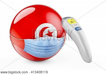 Tunisian Flag With Medical Mask And Infrared Electronic Thermometer. Pandemic In Tunisia Concept, 3d