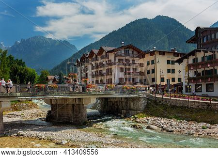 20 August 2019- Fiera Di Primiero, Pale Di San Martino. Village With Dolomite Peaks In Val Di Primie