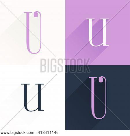 U Letter Condensed Serif Font Set. Perfect To Use In Elegant Branding, Luxury Logo, Wedding Invitati