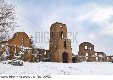 Ruins Of  Ancient Destroyed Korets Castle Outdoor At Winter. Koretsk City. Rivne Region. Ukraine. To
