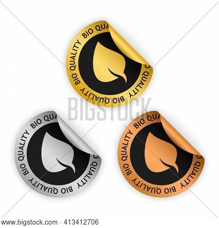Set Of Vector Green Bent Stickers With Symbol Of Bio Quality