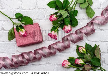 Picture Bouquet Decoration From Fresh Roses And Pink Hearts. Flat Template For Valentine's Day, Inte