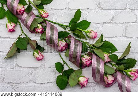 Picture Bouquet Decoration From Fresh Roses. Flat Template For Valentine's Day, International Women'