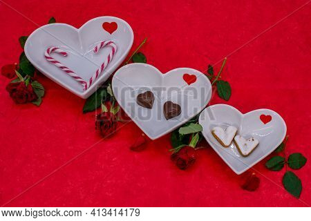 Heart Bowl Decorated With Candies And Cookies In Heart Shape. Template For Valentine's Day, Internat