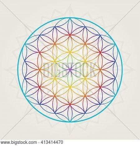 Multicolor Flower Of Life, Rainbow Tatoo Style