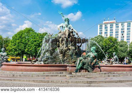 Neptune Fountain (neptunbrunnen) On Alexanderplatz In Berlin, Germany