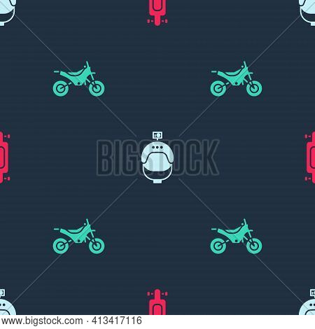 Set Longboard Or Skateboard, Helmet And Action Camera And Mountain Bike On Seamless Pattern. Vector