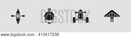 Set Kayak Or Canoe, Helmet And Action Camera, Atv Motorcycle And Hang Glider Icon. Vector