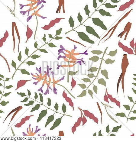 Seamless Pattern With Chinese Liquorice Colored Parts. Leaves, Flower Heads, Roots And Beans Placed