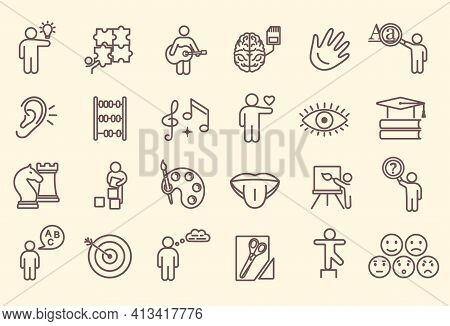 Large Set Of Line Drawn Icons Depicting Cognitive Abilities And Preschool Development Of Children Sh