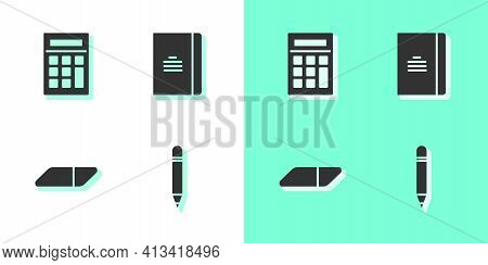 Set Pencil With Eraser, Calculator, Eraser Rubber And Spiral Notebook Icon. Vector