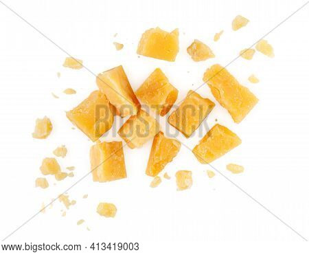 Heap Of Hard Cheese Parmesan Isolated On A White Background. Close Up. Top View.