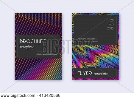 Black Cover Design Template Set. Rainbow Abstract