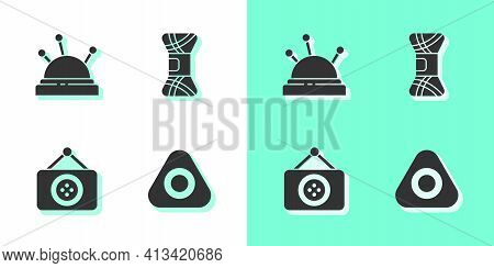 Set Sewing Chalk, Needle Bed And Needles, Tailor Shop And Yarn Icon. Vector