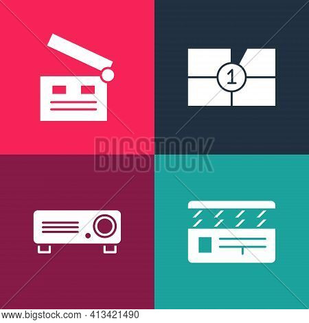 Set Pop Art Movie Clapper, Movie, Film, Media Projector, Old Movie Countdown Frame And Icon. Vector
