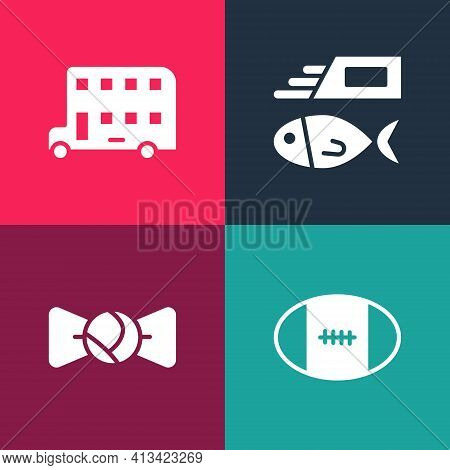 Set Pop Art Rugby Ball, Bow Tie, Fish And Chips And Double Decker Bus Icon. Vector