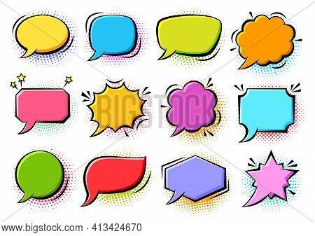 Cartoon Pop Art Bubbles On Color Halftone Background. Retro Sketch Speech Bubble Icon Set. Vector De
