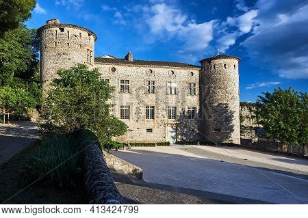 Stone, Medieval  Castle  In The Town Of Vogue In France