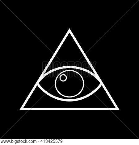 All-seeing Eye, Mystical Symbol, Radiant Delta. Masonic Symbol, Symbolizing The Great Architect Of T