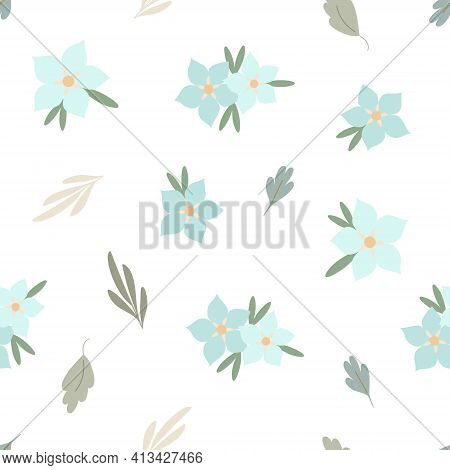 Simple Pastel-colored Flower Seamless Pattern, Flat Style Vector Illustration, Symbol Of Spring, Coz