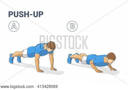 Push-ups Home Workout Exercise Man Silhouette Colorful Guidance Illustration
