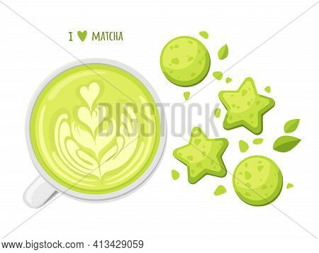 Cute Pre-made Greeting Card Of Matcha. Japanese Healthy Drink. I Love Matcha. Cookies, Latte Cup And