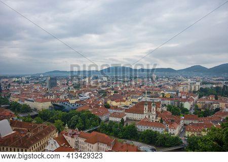 Graz, Austria-14.09.2020: Cityscape Of Graz With Mur River And Mariahilfer Church (mariahilferkirche