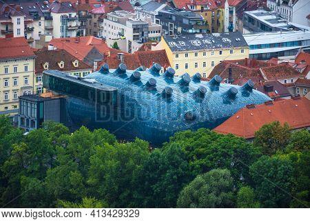 Graz, Austria-14.09.2020: Kunsthaus Graz, The Ultra-modern Graz Art Museum For Contemporary Art, Loo