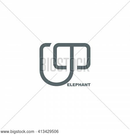 Letter M Simple Abstract Elephant Shape Symbol Vector