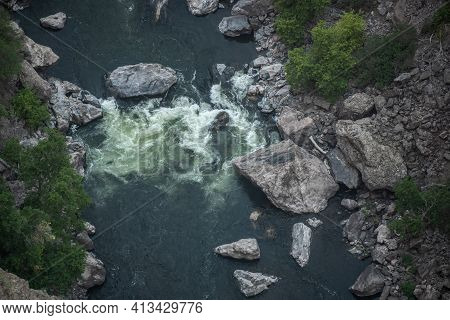 Churning Water Of The Gunnison River In Black Canyon Of The Gunnison National Park
