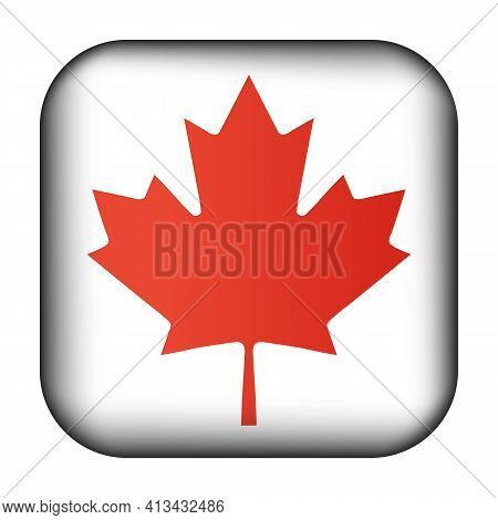 Glass Light Ball With Flag Of Canada. Squared Template Icon. Canadian National Symbol. Glossy Realis