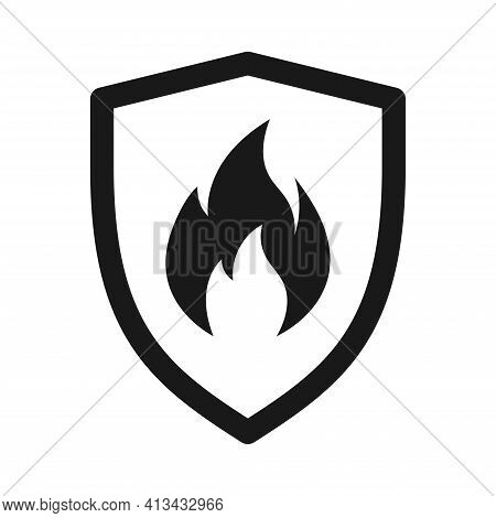Shield With Fire Sign. Fire Shield Vector Icon. Vector Shield Icon. Protection Icon. Shield Vector I