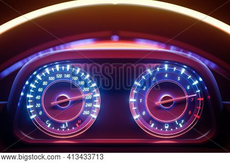 3d Illustration Of The Close Up Instrument Automobile Panel With Odometer, Speedometer, Tachometer U