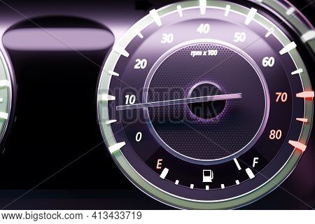 3d Illustration Close Up  Black Car Panel Uder  White Color, Digital Bright Tachometer.