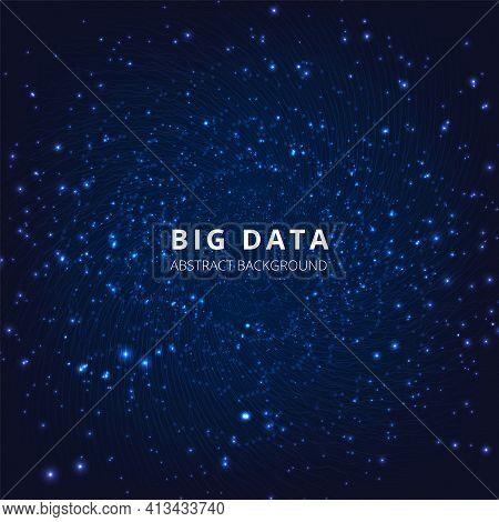 Big Data Background Design.vector Big Data Visualization.wave Lines Moving Towards Of Depth . Futuri