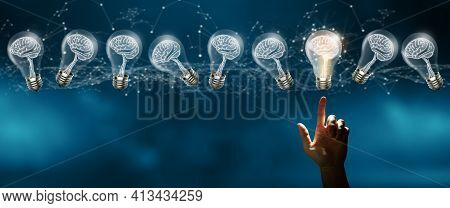 Businessman Fingertip On Light Bulbs With Brain Inside And Glowing One Different Idea. Creative And