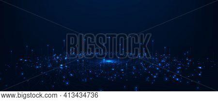 Big Data Visualization Graphic Concept.vector Big Data Visualization.wave Lines Moving Towards Of Pi