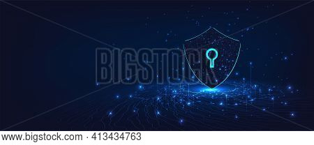 Cyber Security.shield Symbol On Dark Blue Background.illustrates Cyber Data Security.vector Illustra