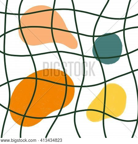 Abstract multicolored shapes. Vector illustration. Bright spots and wavy lines. Spots behind bars. Abstract background