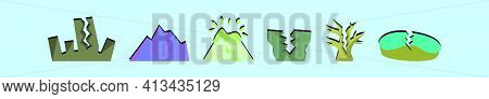 Set Of Earth Quake Cartoon Icon Design Template With Various Models. Modern Vector Illustration Isol