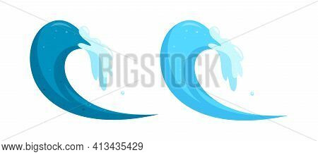 Blue Ocean Waves. Barrel Surfing Tides Isolated On White Background. Cartoon Vector Illustration