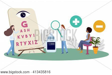 Ophthalmologist Examines Patient Reading Letters Wear Glasses With Flat Cartoon Style