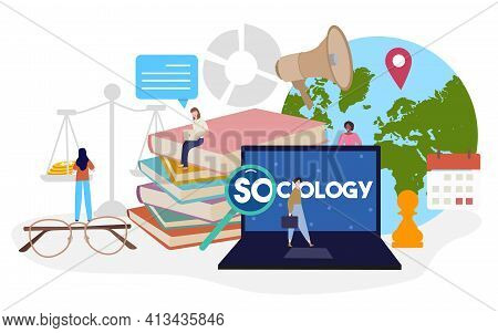 Sociology Studies Concept People Around Laptop Scale Book Speaker Location Pointer Earth Chess Calen