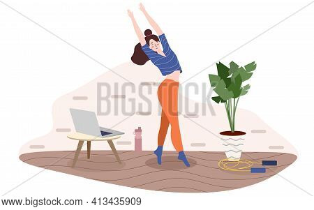 Woman Exercise Aerobic Online Use Laptop With Flat Cartoon Style