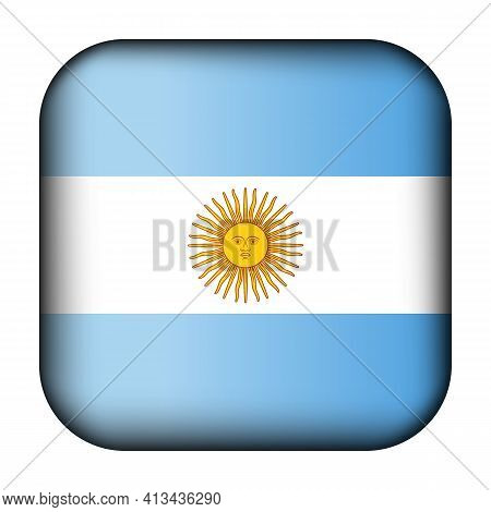 Glass Light Ball With Flag Of Argentina. Squared Template Icon. Argentinian National Symbol. Glossy