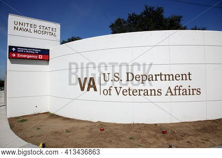 Long Beach, California  USA - March 15, 2021: Sign at the Veterans Affairs complex Long Beach California. Editorial Use Only.