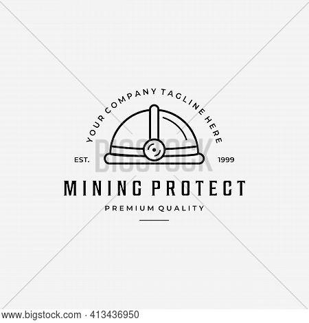 Mining Helmet Protection Line Art Logo, Minimalist Design Lamp Helm Vector Concept