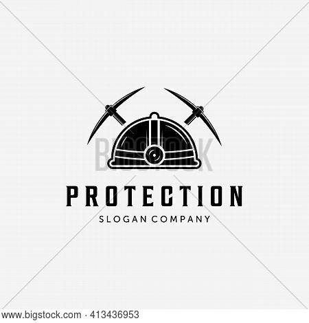 Mining Helm And Pickaxe Vintage Logo, Minimalist Design Of Axe Ax Vector Concept, Mining Logo, Picka